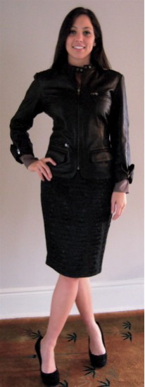 Black Moto Jacket with Croc Skirt