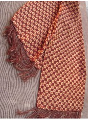 Vintage Men's Scarf with Brown Print Squares