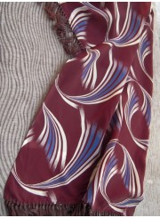 Vintage Men's Scarf Burgundy Waves