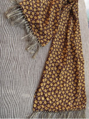 Vintage Men's Scarf with Yellow Print