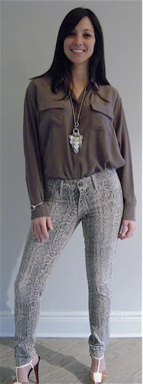 Snake Jeans with Silk Shirt with Multi Heart Necklace