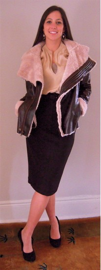 Everyday Silk Blouse with Faux Shearling with Buckle Byron Skirt
