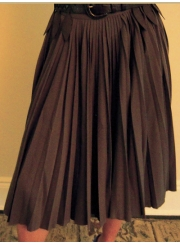 Mushroom Colored Pleated Skirt with Belt