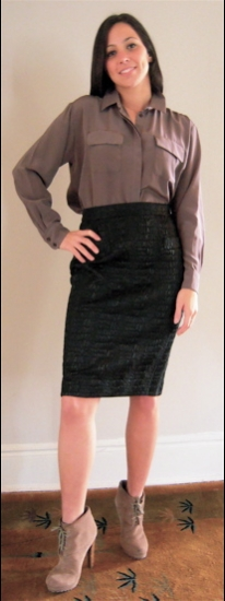 Croc Skirt with Silk Shirt