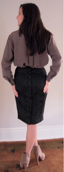 Croc Skirt Back with Silk Shirt