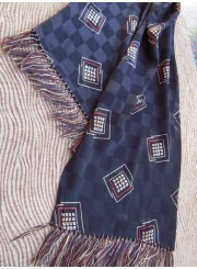 Vintage Men's Scarf--Dotted Geometric Print
