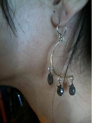Crescent Labroadorite Earrings
