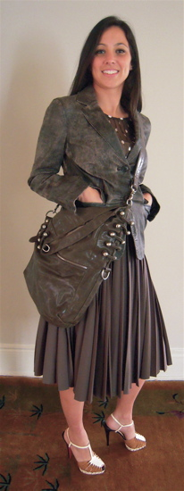 Leather Blazer with Pleated Skirt with Dot Blouse with Bag