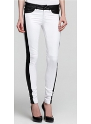 Leather Detailed White Jeans